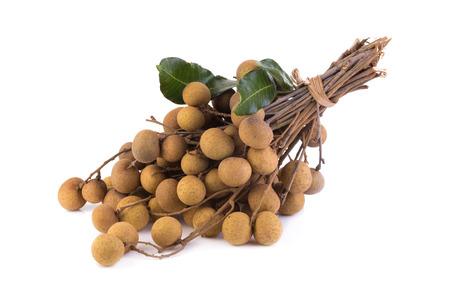 flesh colour: Longan fruit on a white background.