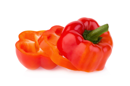 sweet red pepper on white background. Stock Photo