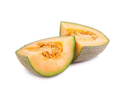 Cantaloupe: cantaloupe melon on white background. Stock Photo
