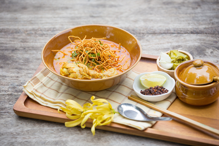 soi: Egg Noodle in Chicken Curry Thai food ,Khao Soi. Stock Photo