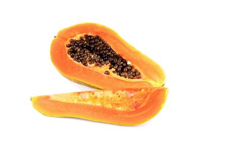 cranny: Papaya isolated on white background Stock Photo