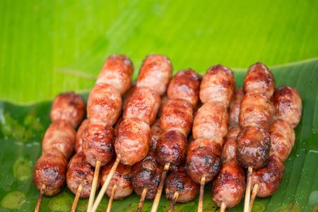 isaan: Isaan pork meat sausage recipe. Stock Photo