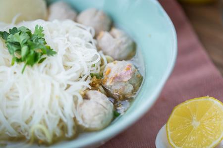 noodle soup: pork meatballs and noodle soup.