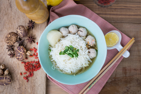 pork meatballs and noodle soup.