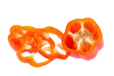 bell peper: sweet red pepper on white background. Stock Photo
