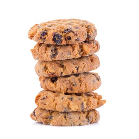 brocken: Chocolate chip cookies on white background.