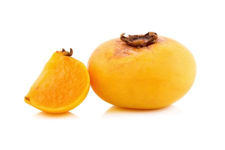 ebenaceae: Gold Apple, Diospyros decandra Lour. Thai fruit and Thai herb on white background. Stock Photo