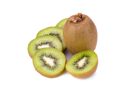cantle: Whole kiwi fruit and his sliced segments isolated on white.