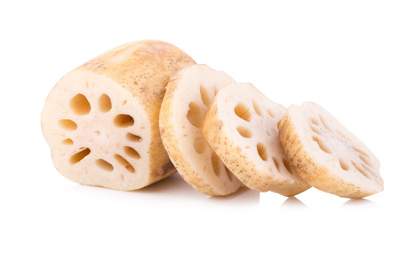 fresh lotus root with slices isolated on white background.