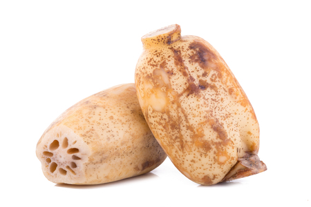 Lotus root on white background.