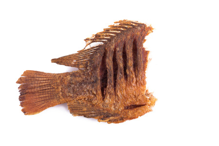 Deep Fried Tilapia Fish with salt on white background.