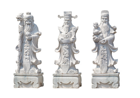 hock: Hock Lok Siew or Fu Lu Shou, Three gods of Chinese. sculptor makes a sculpture of white marble