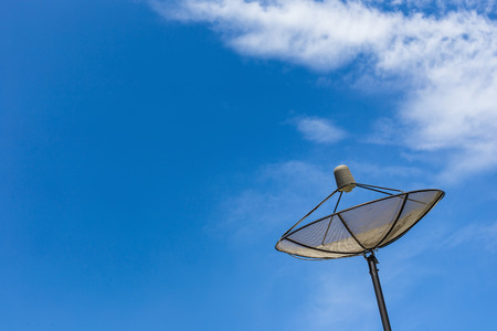 Blue sky with clouds and Satellite dish antenna