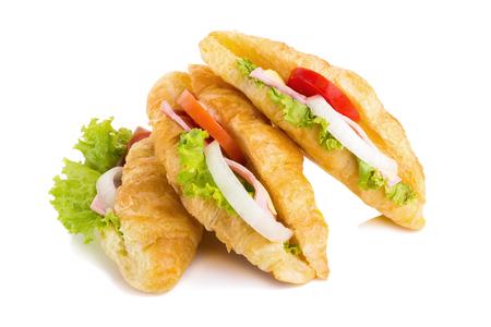 croissant sandwich ham on white background.