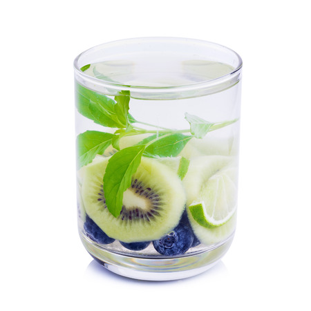 Detox water with Blueberries, kiwi and basil leaves