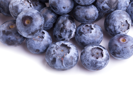 close up of blueberries on white background. Stock Photo