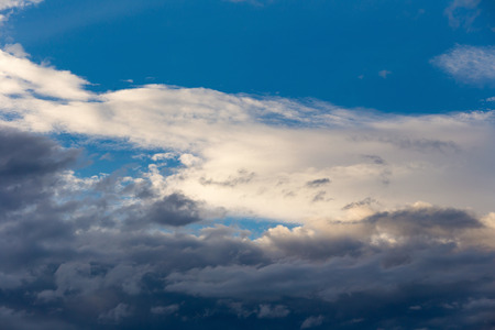 Color of dramatic sky with stormy sunset clouds Stock Photo