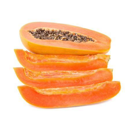 cutaneous: slices of sweet papaya on white background Stock Photo