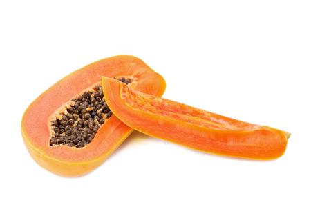 slices of sweet papaya on white background Stock Photo