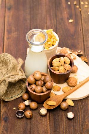 Cereal milk walnuts almonds and macadamia.