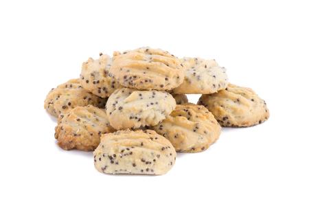 brocken: Chocolate chip cookies on white background