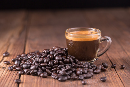 coffee on the wooden background, coffee background concept Stock Photo