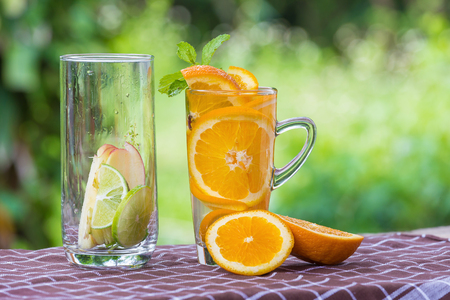 Detox Water with orange Stock Photo