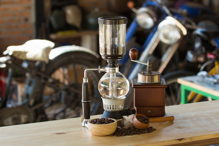 gasket: close up of siphon vacuum coffee maker at shop Stock Photo