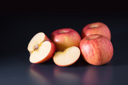 Apples on a black background. Stock Photo