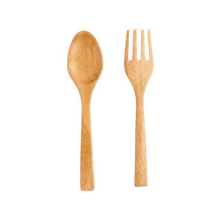 wooden spoon and wooden fork on white background