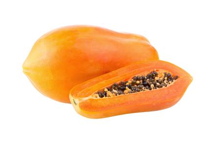 sliced papaya fruit isolated on white background.