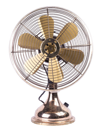 Antique table fan electric ventilator on white background. Stock Photo