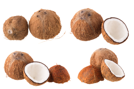 Coconut for oil preparing isolated on white background.