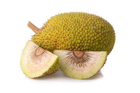 Whole and half fresh breadfruit on white background.