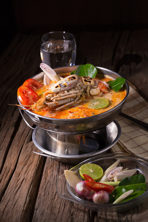 Tom yum goong spicy Thai seafood soup.
