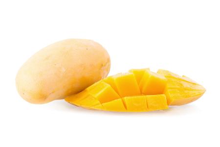 maharashtra: Mango fruit and mango cubes on the white background. Stock Photo