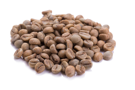 Unroasted coffee beans Stock Photo