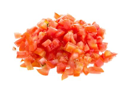 Tomates tajados en el fondo blanco. Foto de archivo
