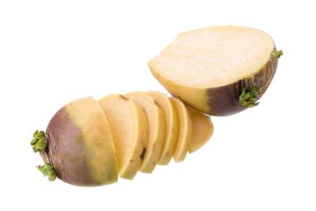 Fresh Swede isolated on a white background.