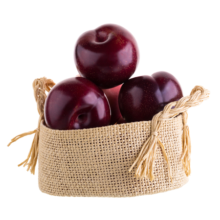 glassy: ripe fresh plum isolated on a white background. Stock Photo