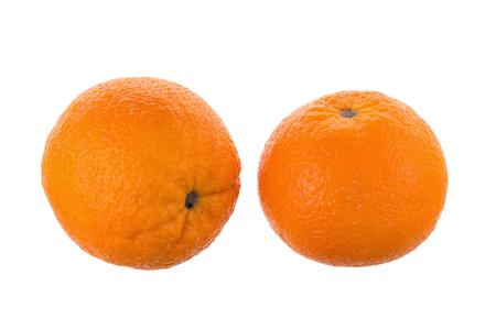 segmento: Two ripe juicy orange isolated on white background.