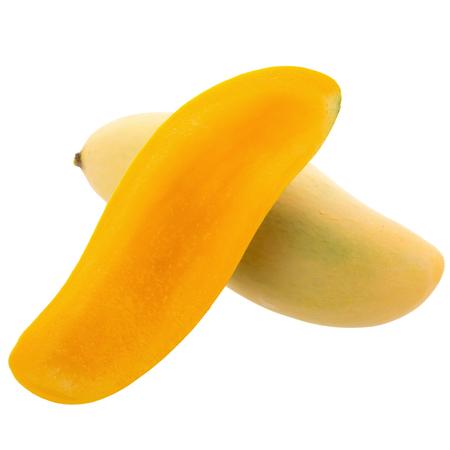 maharashtra: Bunch of Sweet yellow mango fruit isolated on white background. Stock Photo