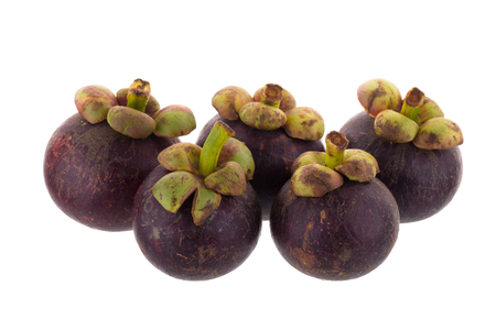 Mangosteens Queen of fruits, ripe mangosteen fruit isolated on white background.