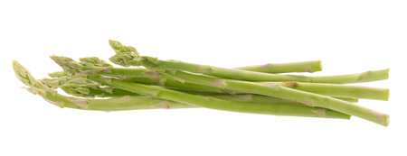 Bunch of green asparagus isolated on white background.