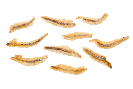 Dried Small fish anchovies and crispy Seafood isolated on white background.