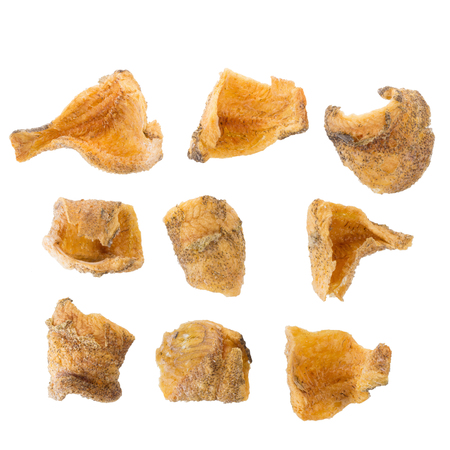 ration: Fried Trichogaster pectoralis cut in slice fry for crispy, fish thai food isolated on white background.