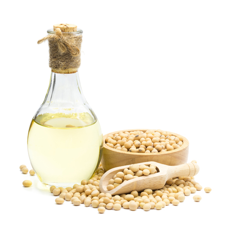 Soybean and Soybean oil bottle isolated on white background.