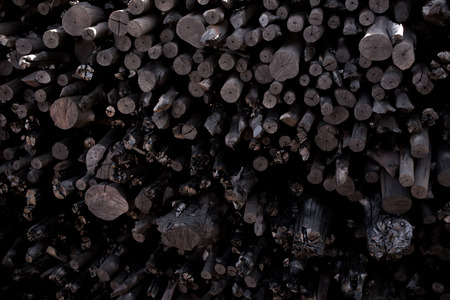 Natural wood charcoal, traditional charcoal or hard wood charcoal. Stock Photo