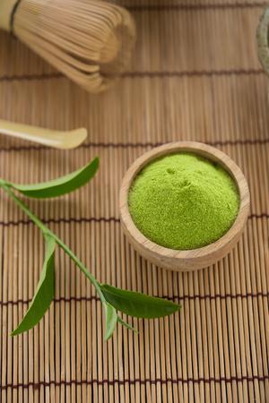 Set of matcha powder bowl wooden spoon and whisk green tea leaf Organic Green Matcha Tea ceremony.