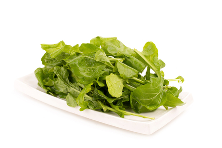 Close up studio shot of green fresh rucola leaves isolated on white background. Rocket salad or arugula